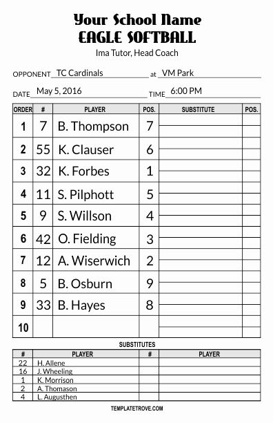 Baseball Lineup Template Lovely Lineup Card Templates