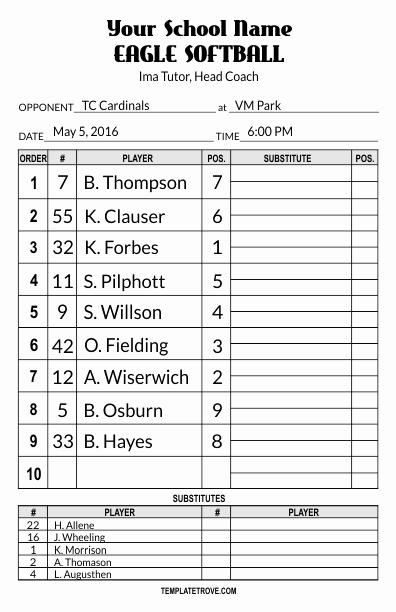 Baseball Lineup Template Lovely Lineup Card Templates