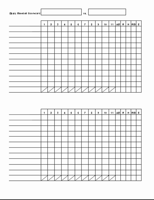 Baseball Score Book Template Beautiful Basic Baseball Scorecard Fice Templates