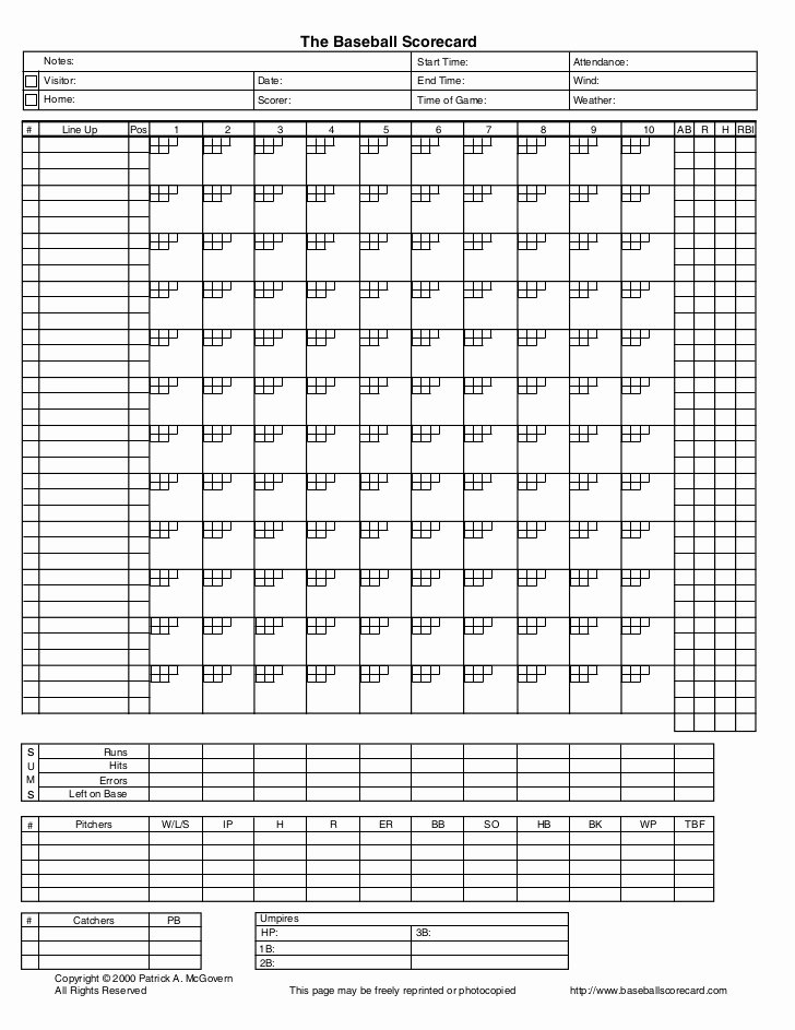 Baseball Score Book Template Elegant Baseball Score Card