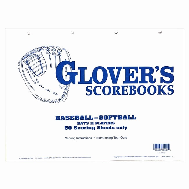 Baseball Score Book Template Lovely Glover S 50 Game Baseball softball Scorebook Refill Bb 101