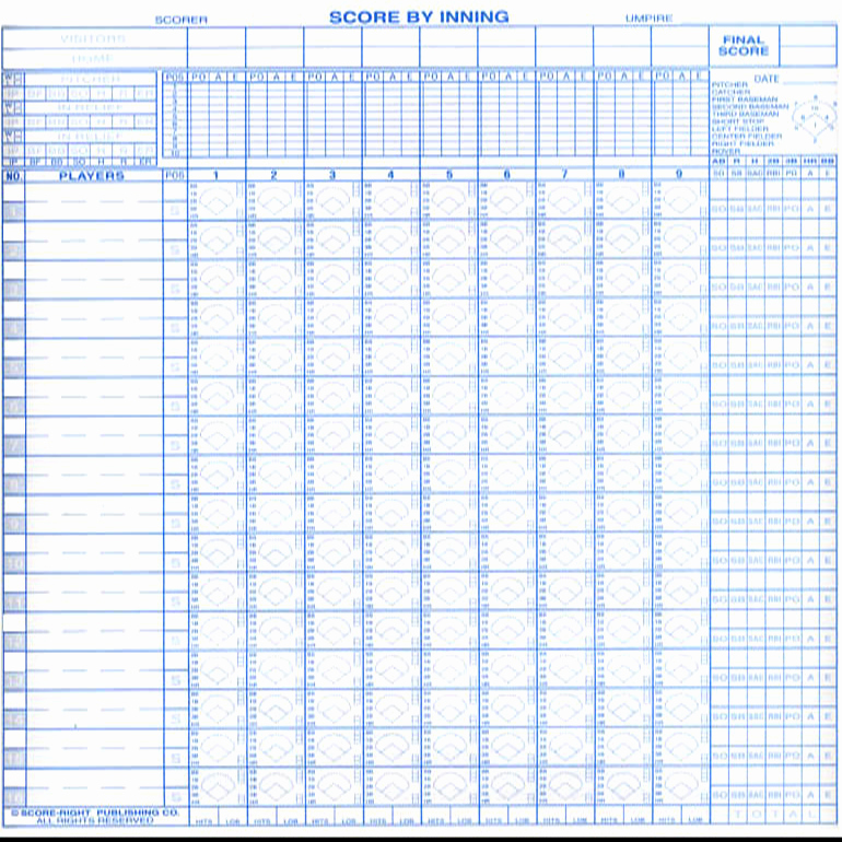 Baseball Score Book Template New Score Right 16 Position Baseball softball Scoring Book