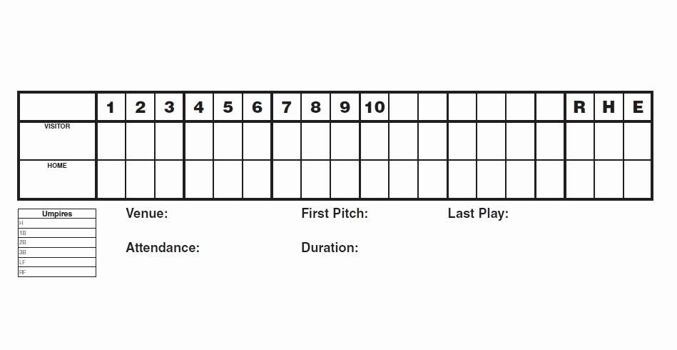 Baseball Score Sheet Template Awesome 30 Printable Baseball Scoresheet Scorecard Templates