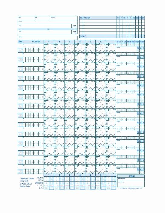 Baseball Score Sheet Template Beautiful 30 Printable Baseball Scoresheet Scorecard Templates