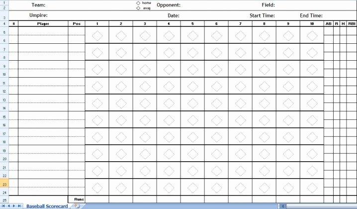 Baseball Score Sheet Template Best Of Baseball Score Sheet Excel Template