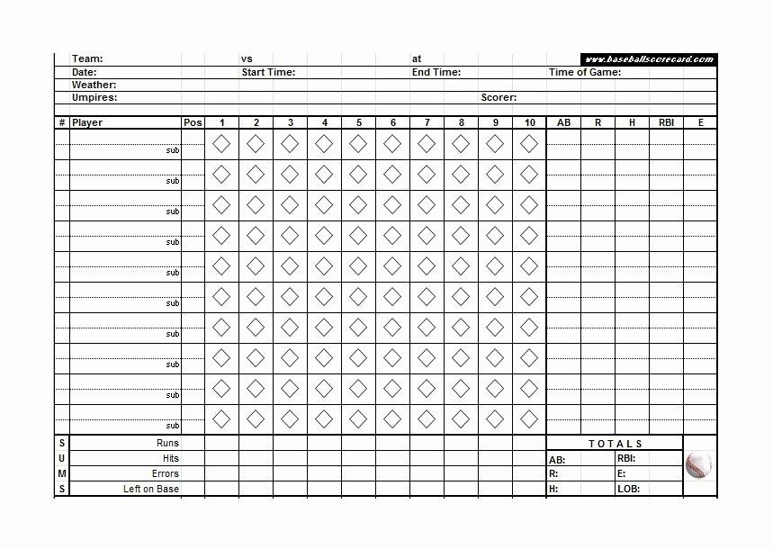 Baseball Score Sheet Template Luxury 30 Printable Baseball Scoresheet Scorecard Templates
