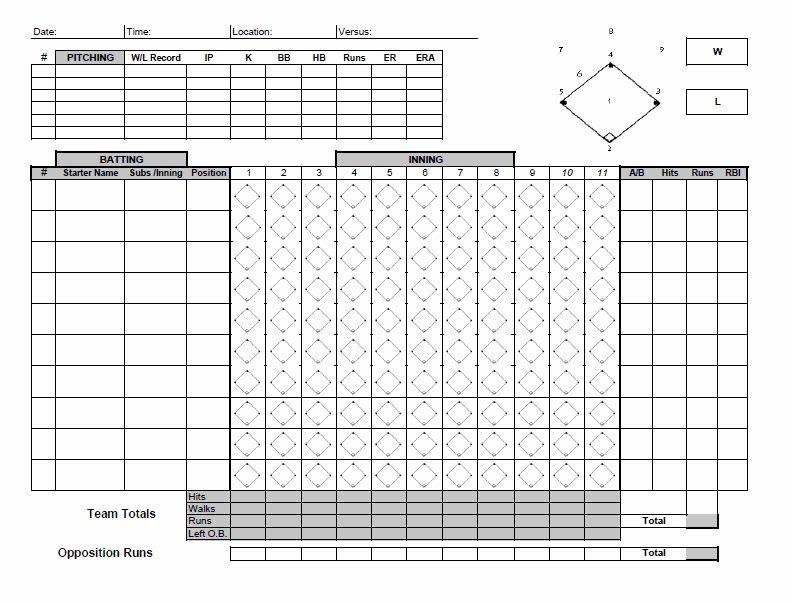 Baseball Score Sheet Template New 30 Printable Baseball Scoresheet Scorecard Templates