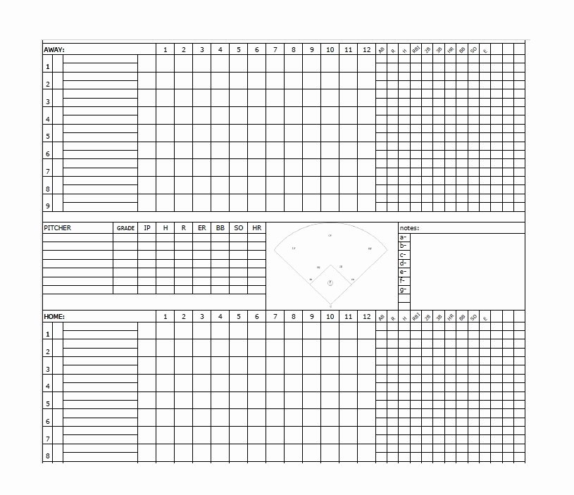 Baseball Scoring Sheet Printable Awesome 30 Printable Baseball Scoresheet Scorecard Templates