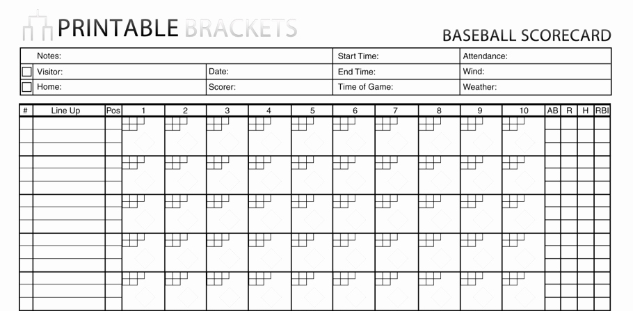 Baseball Scoring Sheet Printable Beautiful Baseball Score Sheet