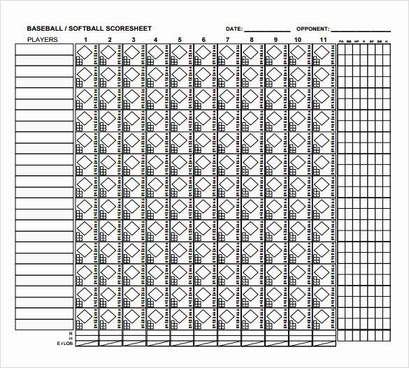 Baseball Scoring Sheet Printable Best Of 8 Sample Baseball Score Sheets Pdf Word Excel Pages