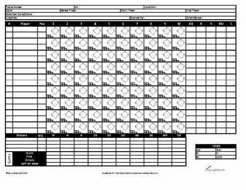 Baseball Scoring Sheet Printable Best Of Baseball Score Card