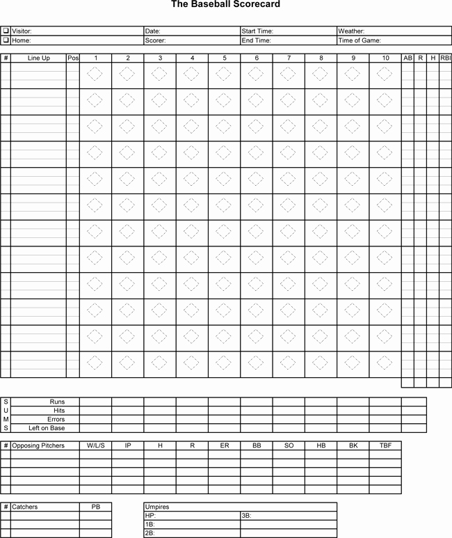 Baseball Scoring Sheet Printable Best Of Printable Baseball Score Sheets Download In Pdf