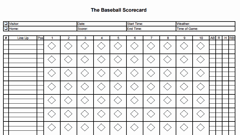 Baseball Scoring Sheet Printable Fresh 8 Printable Baseball Scorecard Templates Excel Templates