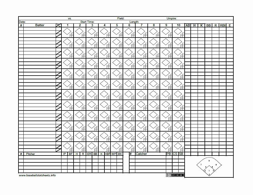 Baseball Scoring Sheet Printable Lovely Baseball Score Sheet 30 Printable Baseball Scoresheet