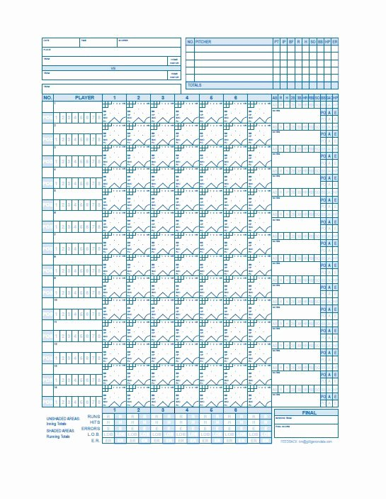 Baseball Scoring Sheet Printable Luxury 30 Printable Baseball Scoresheet Scorecard Templates