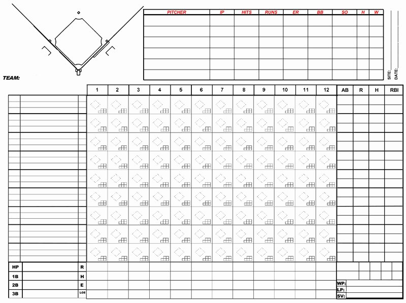 Baseball Scoring Sheet Printable New Baseball Score Sheets Free Printable Word Excel Pdf