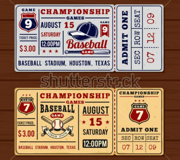 Baseball Ticket Template Free Awesome 17 Vintage Ticket Designs & Templates Psd Ai Indesign