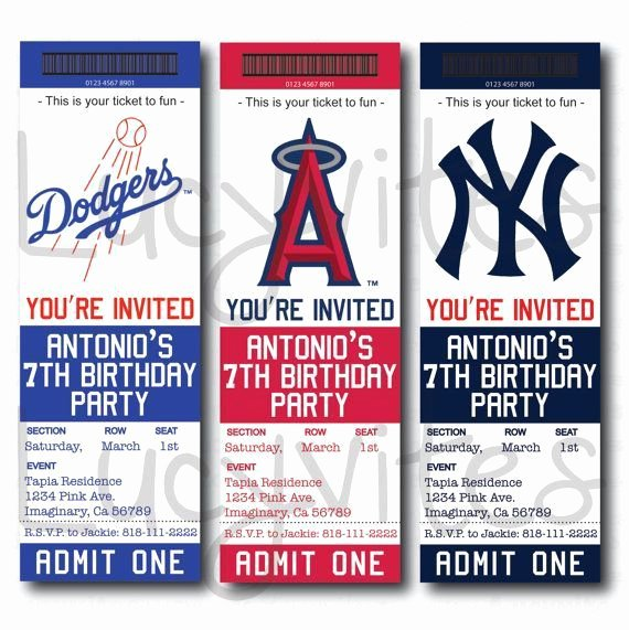 Baseball Ticket Template Free Awesome Baseball Team Ticket Invitation Baseball Baby Shower