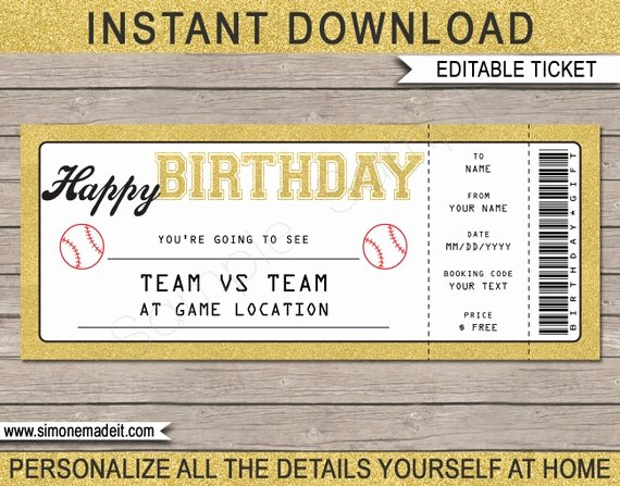 Baseball Ticket Template Free Awesome Birthday Baseball Game Ticket Gift Surprise Ticket to