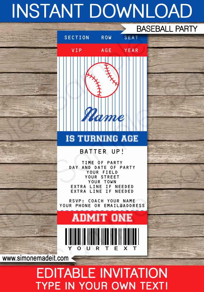 Baseball Ticket Template Free Beautiful Baseball Ticket Invitation Template