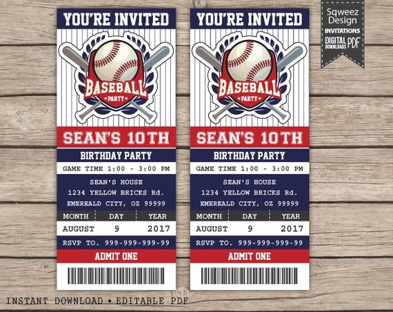 Baseball Ticket Template Free Inspirational Baseball Birthday Invitation Baseball Ticket Invitation