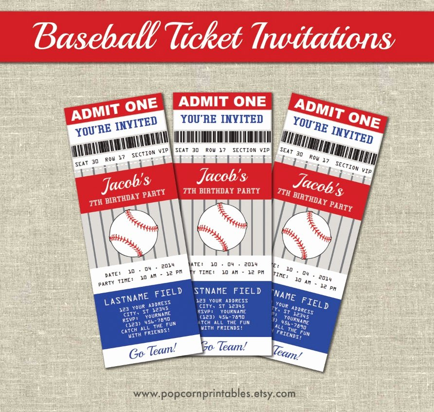 Baseball Ticket Template Free Lovely Baseball Ticket Invitations Printables Editable Text Pdf