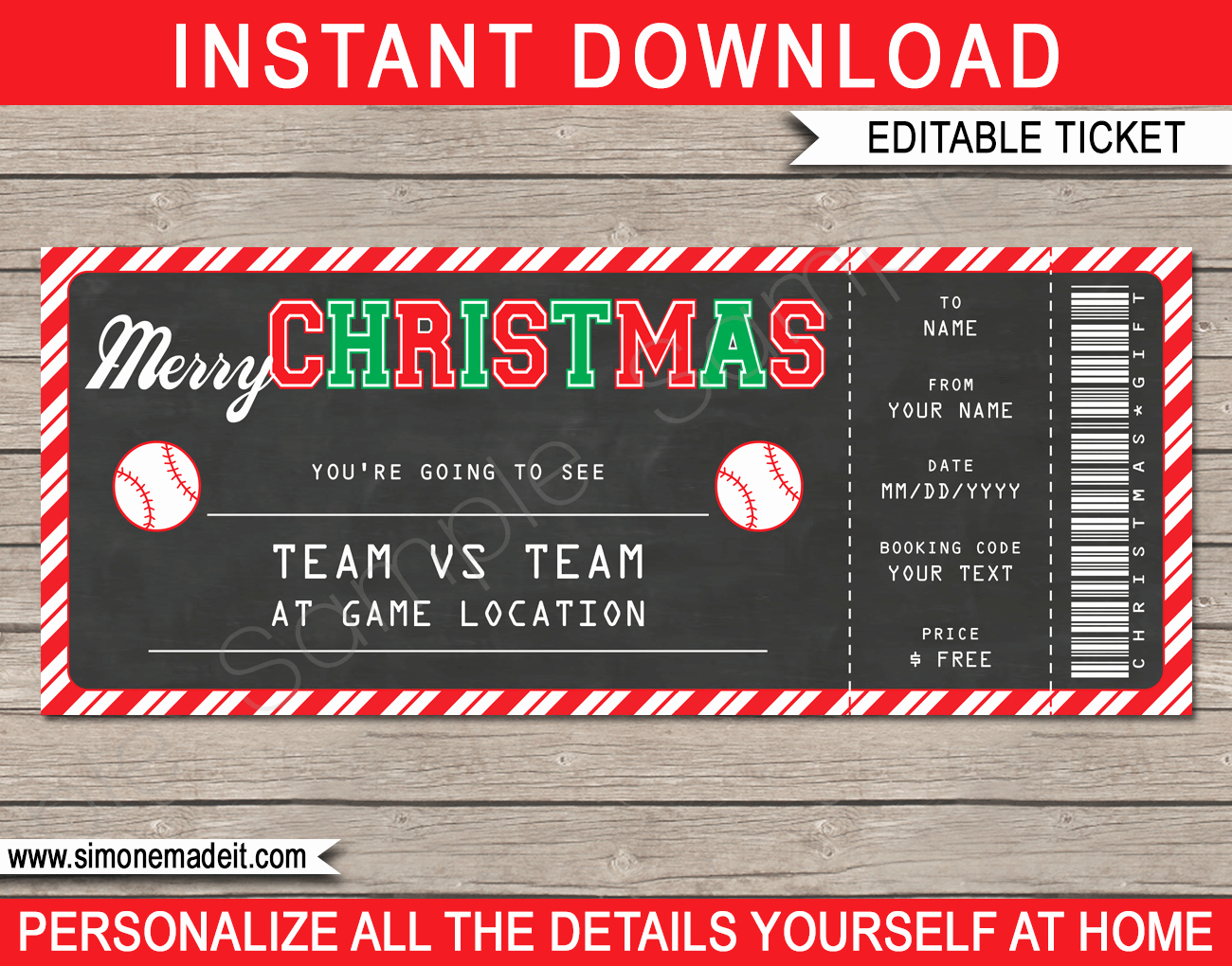 Baseball Ticket Template Free Lovely Christmas Gift Baseball Ticket Template