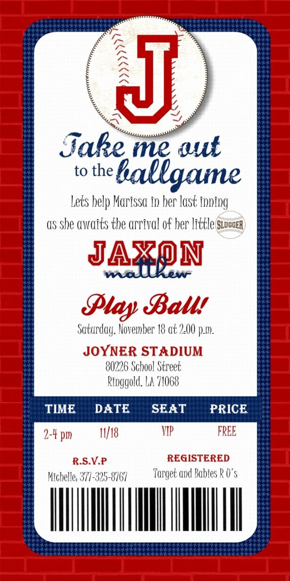 Baseball Ticket Template Free Lovely Custom Printable Baseball Ticket Invitation by Joyinvitations