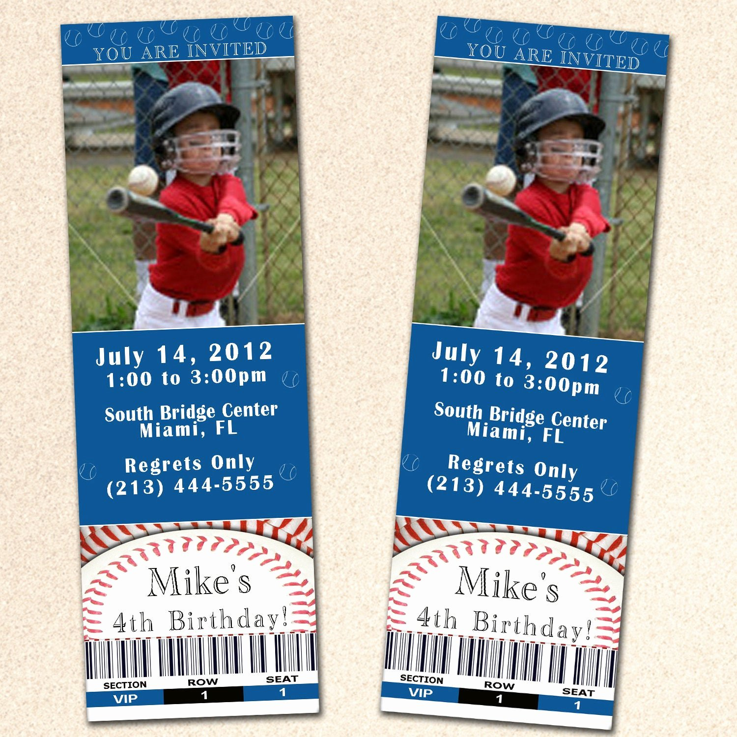 Baseball Ticket Template Free New Baseball Birthday Invitation Ticket Boy Blue Sport by