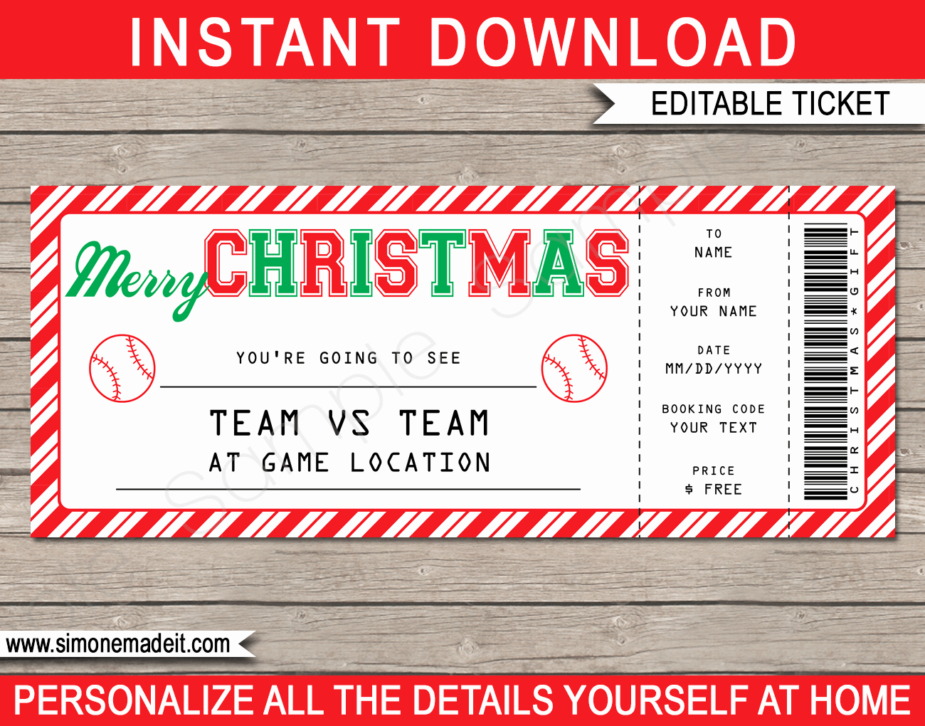 Baseball Ticket Template Free New Christmas Baseball Ticket Gift Voucher