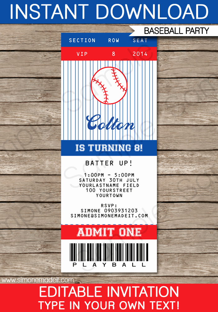 Baseball Ticket Template Free Unique Baseball Ticket Invitation Template Free
