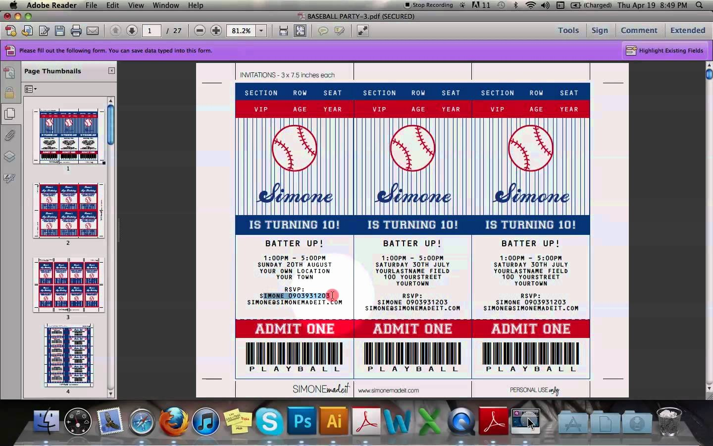 Baseball Ticket Template Free Unique Ticket Invitation Template Download