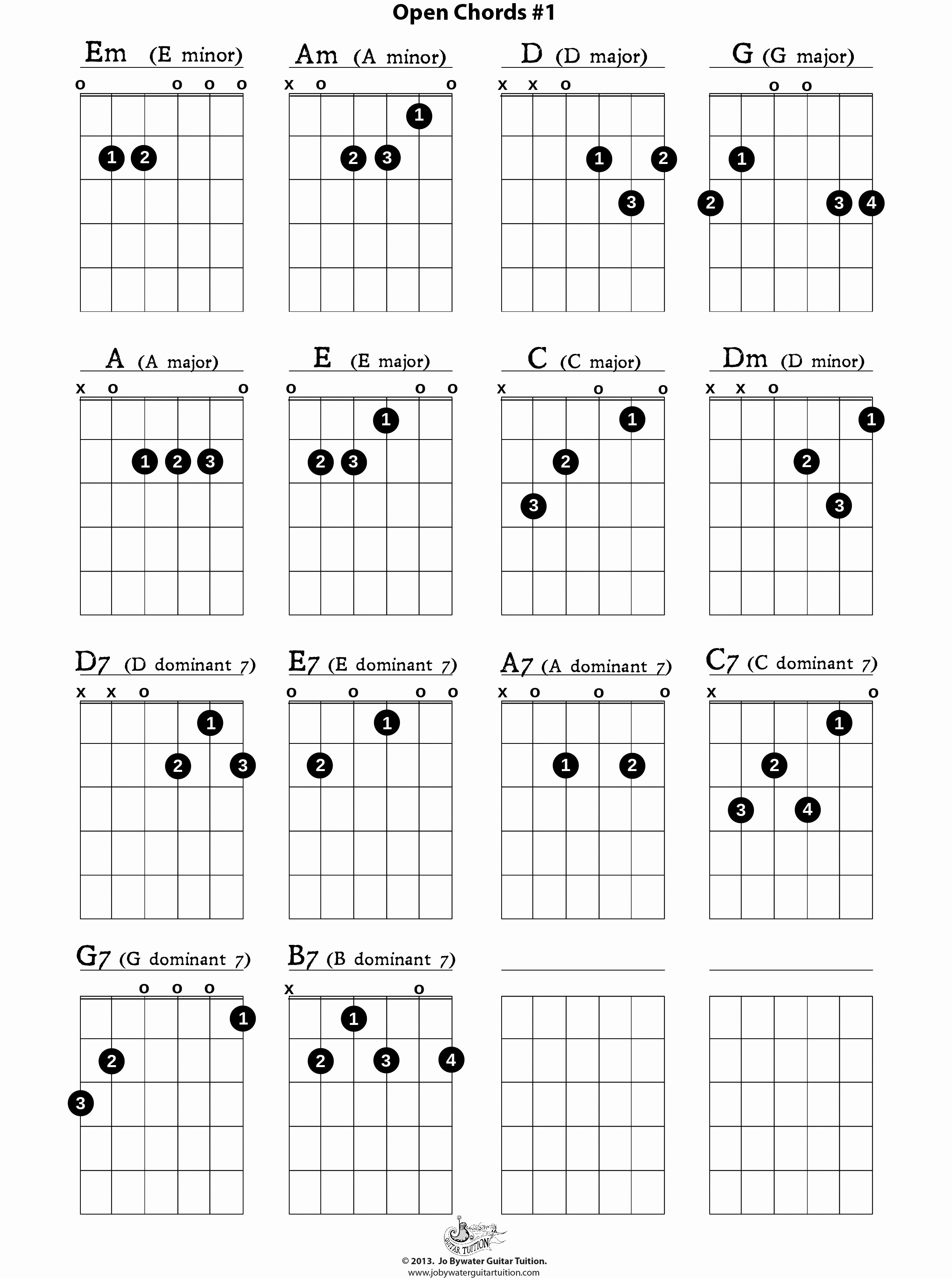 Basic Guitar Chord Chart Unique Free Lessons Aids