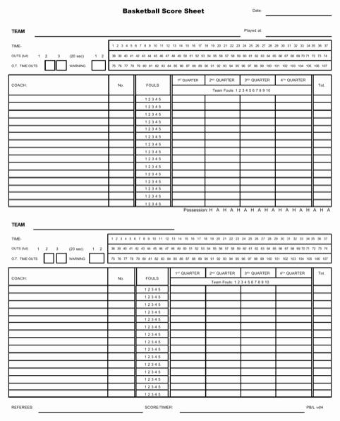 Basketball Score Sheet Template Beautiful Download Basketball Score Sheet for Free formtemplate
