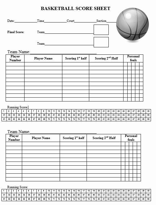 Basketball Score Sheet Template Inspirational 8 Free Sample Basketball Score Sheet Samples Printable