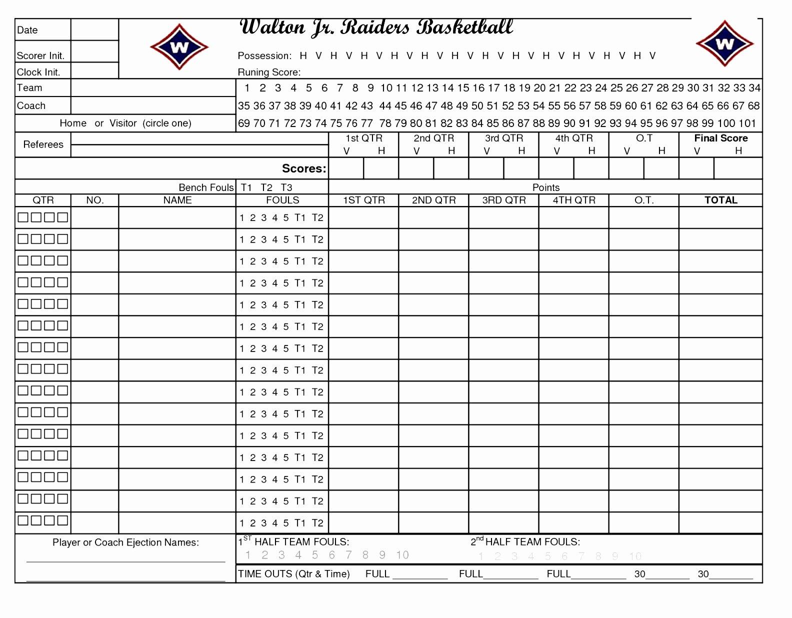 Basketball Score Sheet Template New 10 Football Stat Sheet Template Excel Aieer