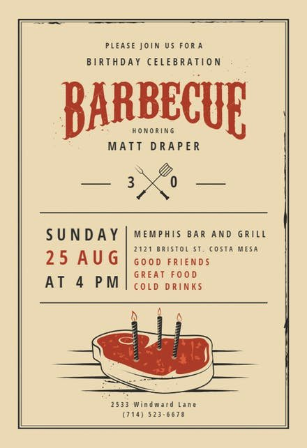 Bbq Party Invitation Wording Awesome Bbq Party Invitation & Flyer Templates Free