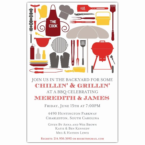 Bbq Party Invitation Wording Awesome Cookout Silhouettes Bbq Invitations