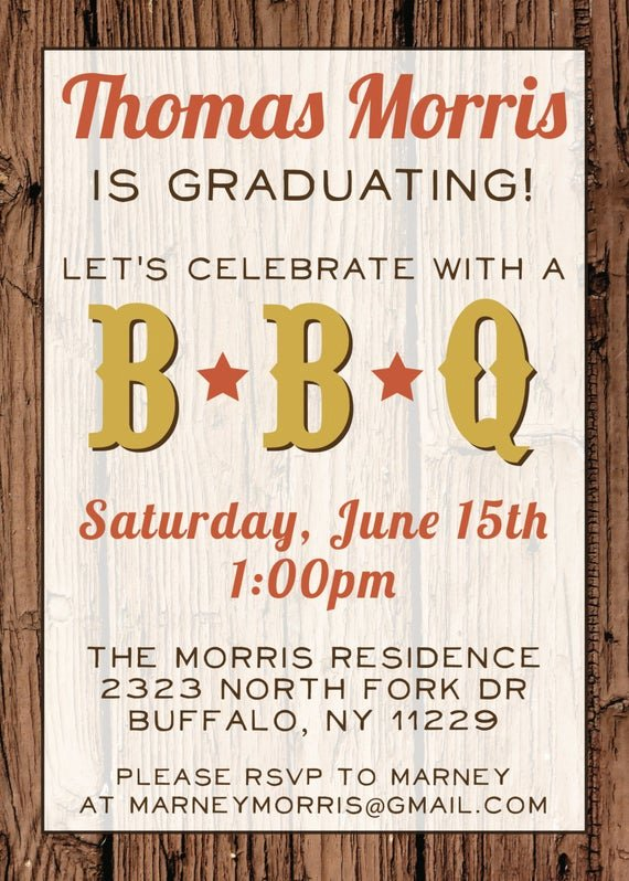 Bbq Party Invitation Wording Awesome Custom Bbq Graduation Party Invitation Digital File