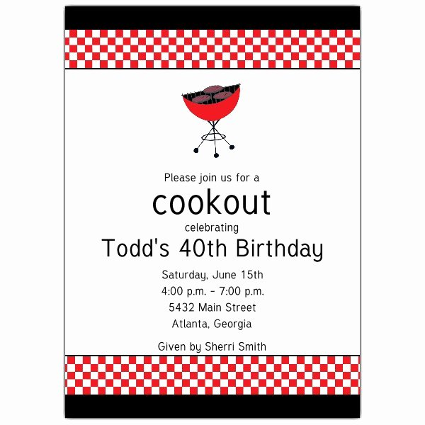 Bbq Party Invitation Wording Beautiful Cookout Grill Birthday Invitations
