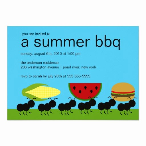 Bbq Party Invitation Wording Elegant Funny Ants Summer Bbq Bash Invitation