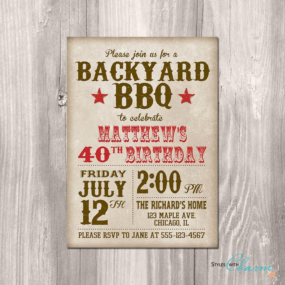Bbq Party Invitation Wording Inspirational Bbq Birthday Invitation Bbq Party Invitation by