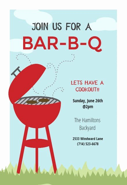 Bbq Party Invitation Wording New Bbq Party Invitation & Flyer Templates Free
