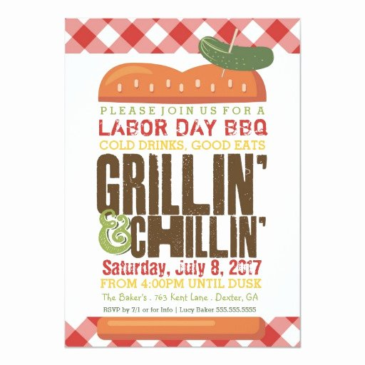 Bbq Party Invitation Wording New Labor Day Bbq Backyard Barbecue Holiday Bbq 5x7 Paper