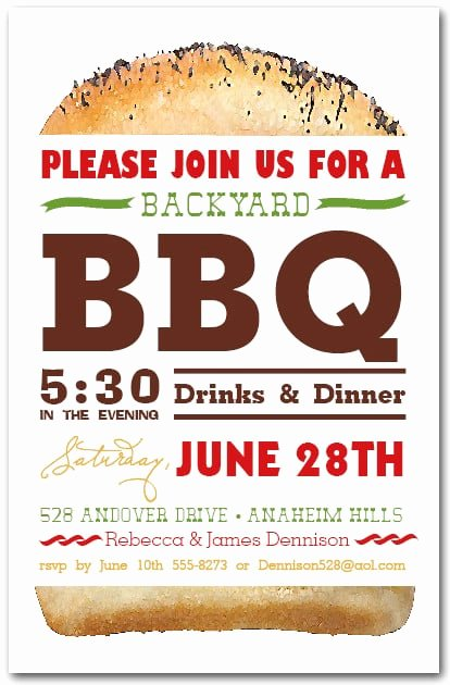 tall hamburger bbq party invitations