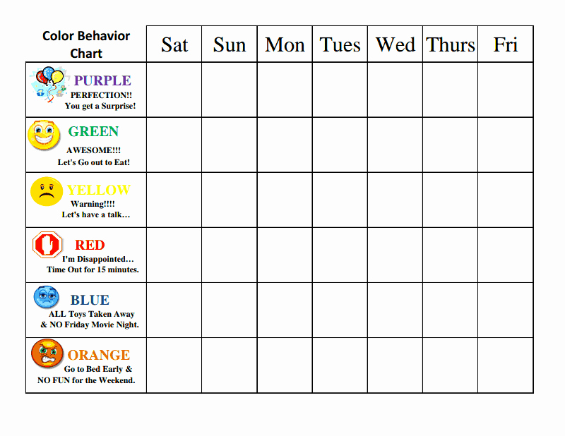 Behavior Charts for Home Best Of Color Behavior Chart to Reinforce Good Behavior