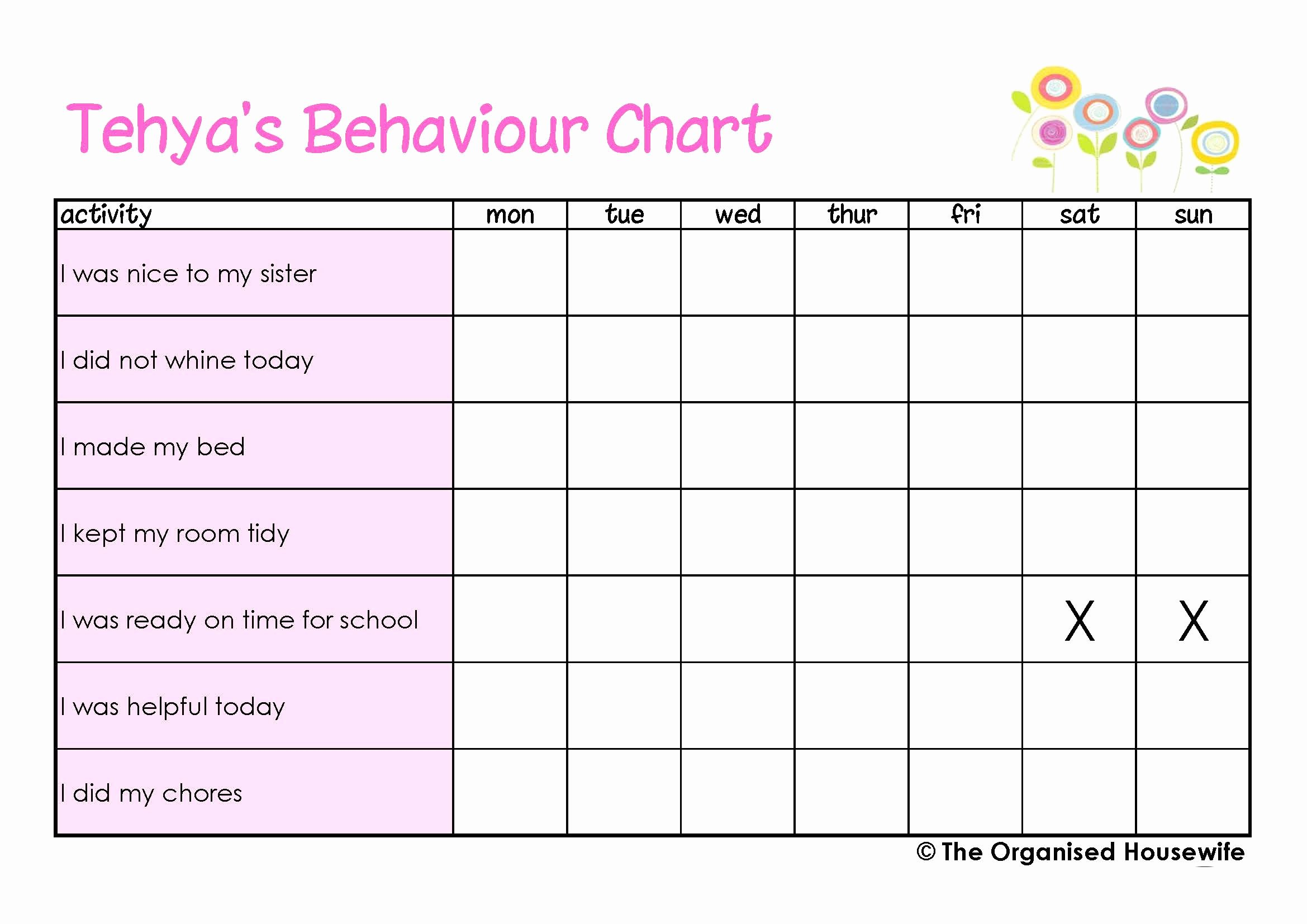 Behavior Charts for Home Best Of Printable Kids Behaviour Charts the organised Housewife