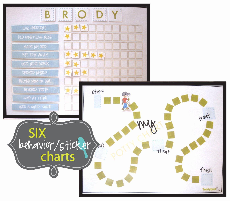 Behavior Charts for Home Elegant Behavior Sticker Charts Boy Pdf Print at Home Immediate