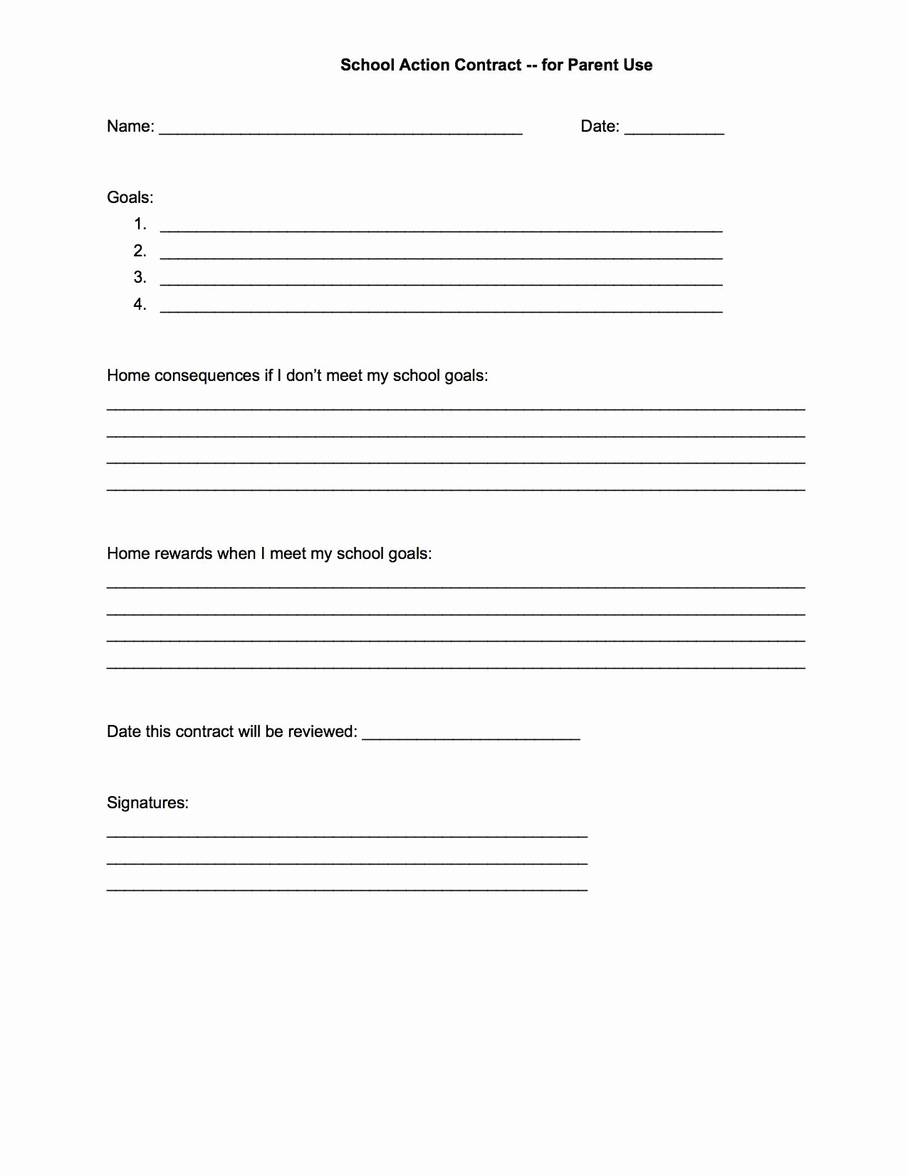 Behavior Contract Template for Adults Awesome Behavior Contract Template 344