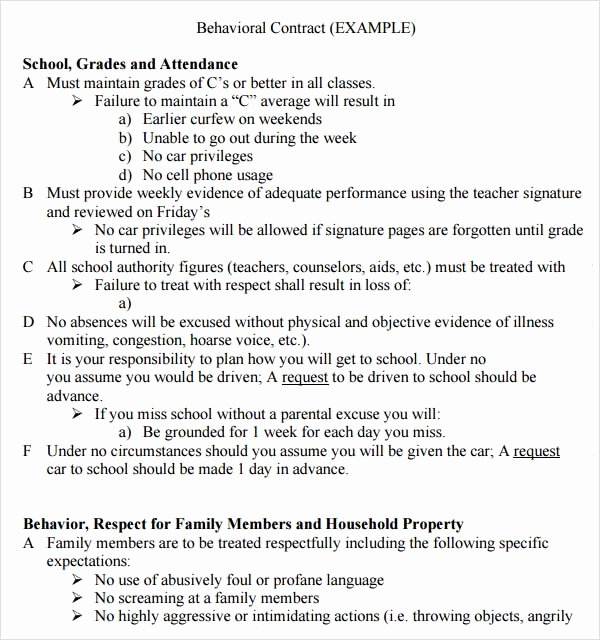 Behavior Contract Template for Adults Beautiful Behavior Contract Template